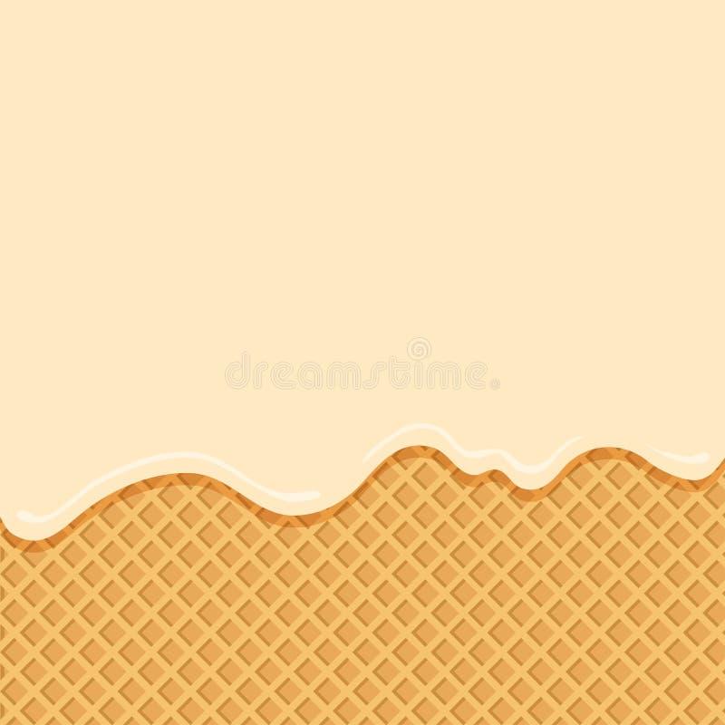 Glace à la vanille circulant vers le bas sur le fond de gaufrette Vecteur illustration libre de droits
