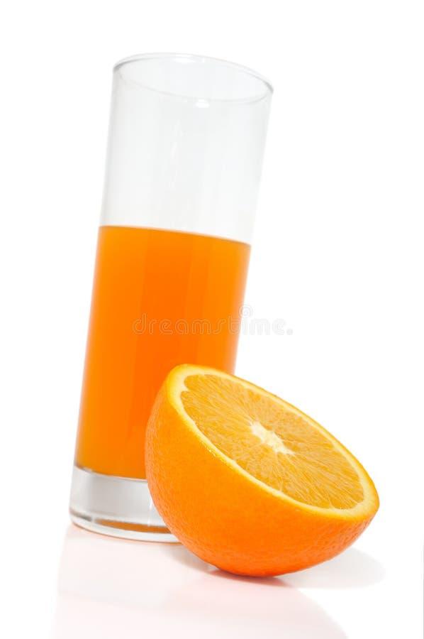 Glace avec du jus et l'orange photo stock