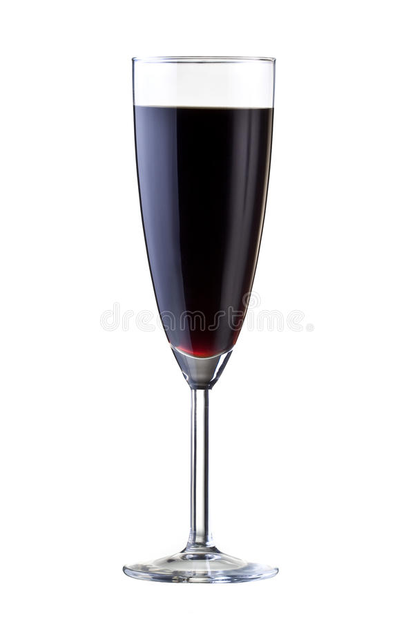 Glace avec le vin rouge, d'isolement sur le blanc. image libre de droits