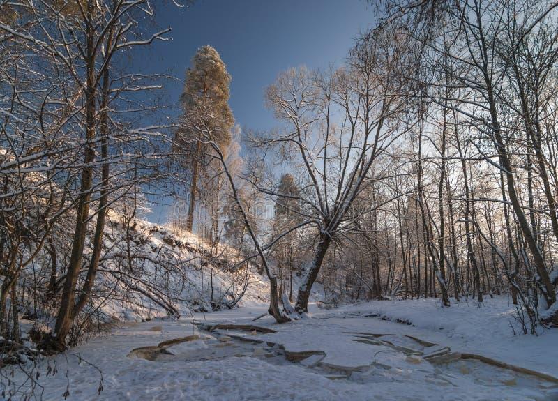 Glace cassée de rivière congelée photo libre de droits