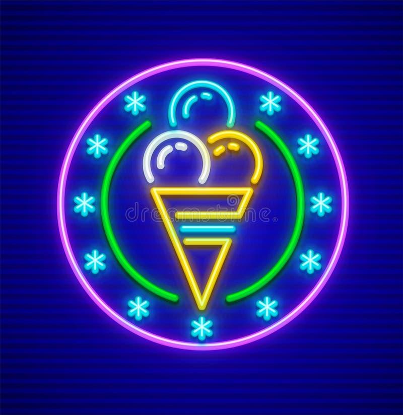 Glace dans l'icône d'enseigne au néon de tasse de gaufre illustration de vecteur