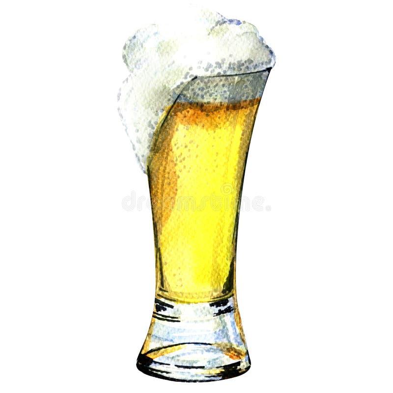 Glace de bière d'isolement sur un fond blanc illustration de vecteur
