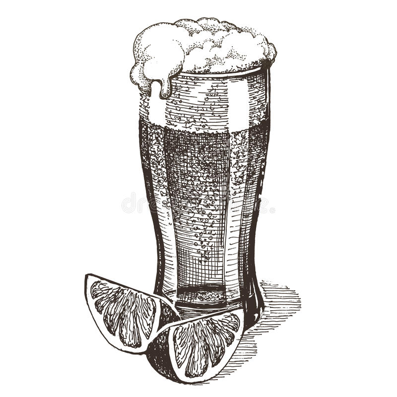 Glace de bière sur un fond blanc croquis illustration de vecteur