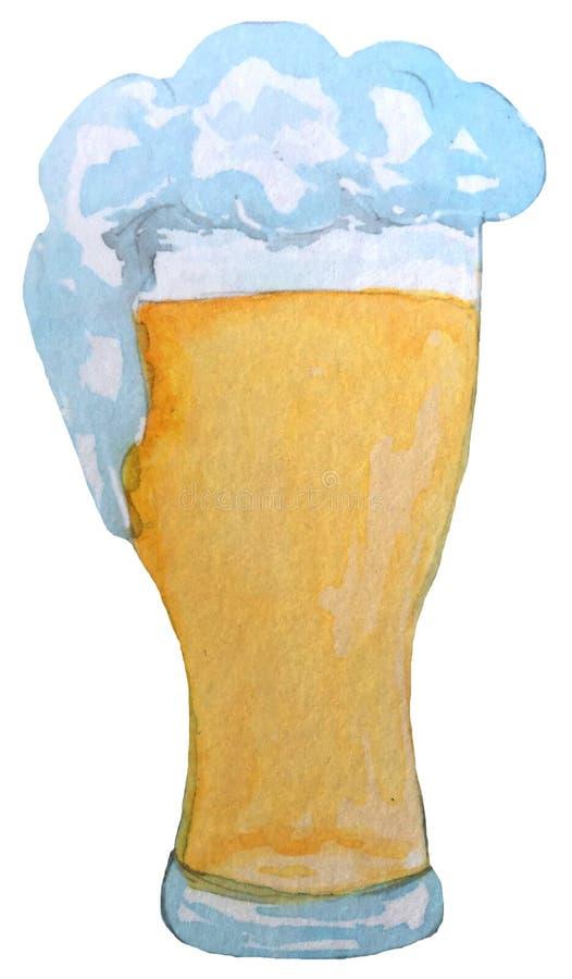 Glace de bi?re blonde avec de la mousse illustration d'aquarelle pour la conception des affiches, cartes, magazines illustration de vecteur