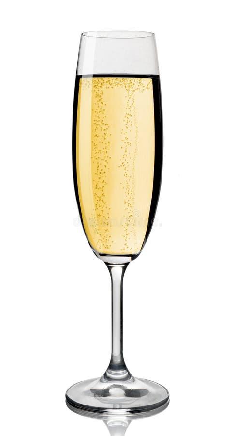 Glace de Champagne, fond blanc. photos libres de droits