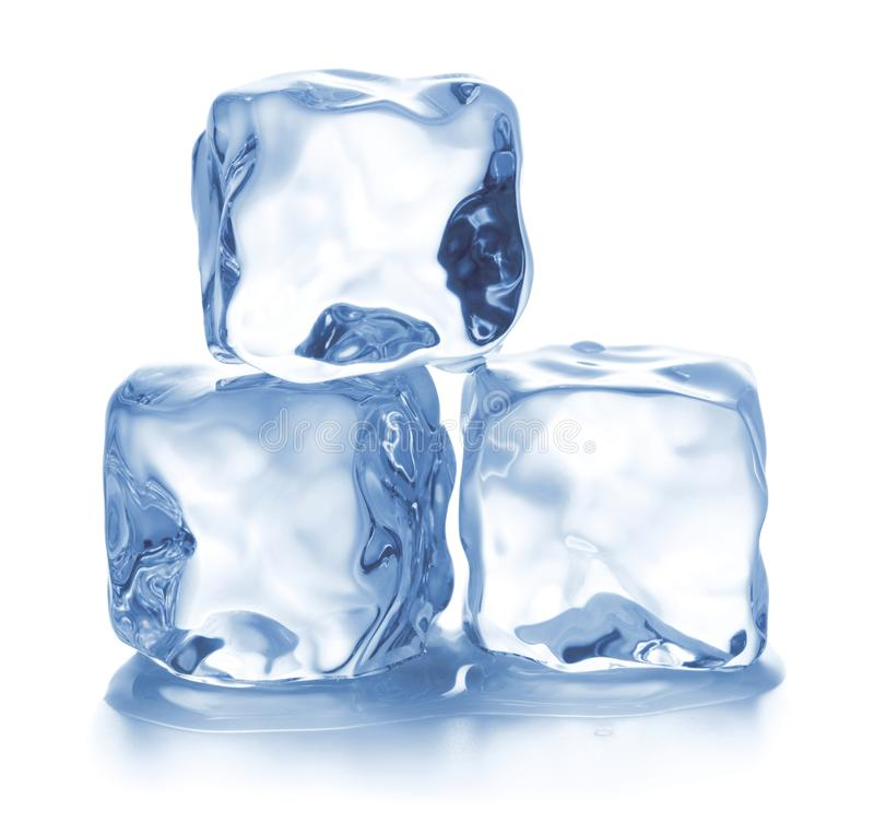 glace de cubes d'isolement photographie stock libre de droits