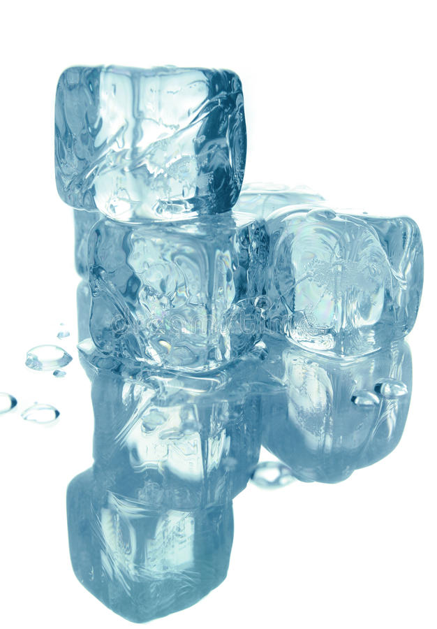 glace de cubes d'isolement photographie stock