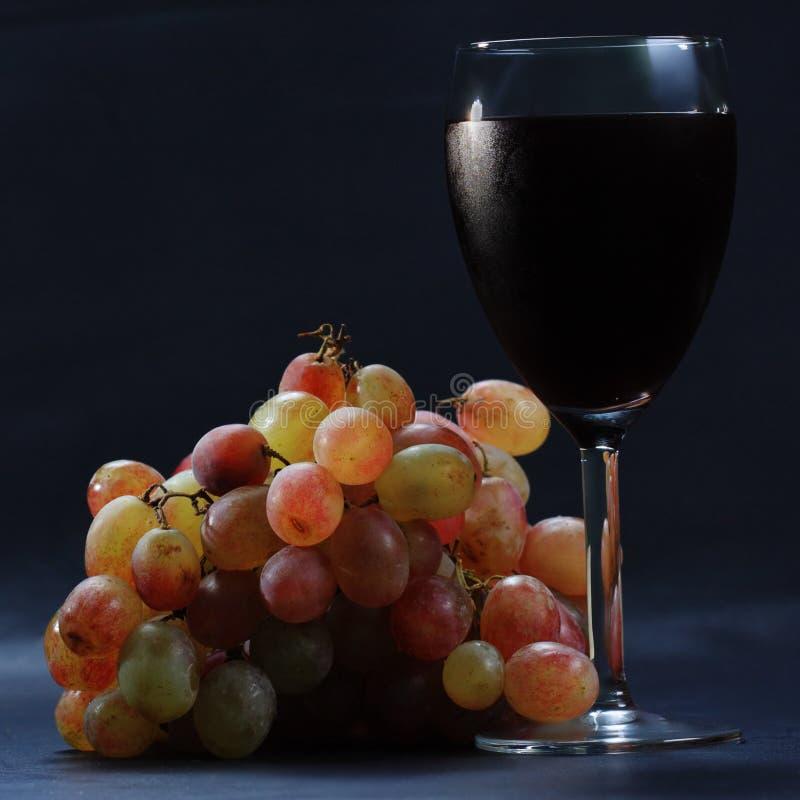 Glace de sideview de vin rouge et de raisins images stock