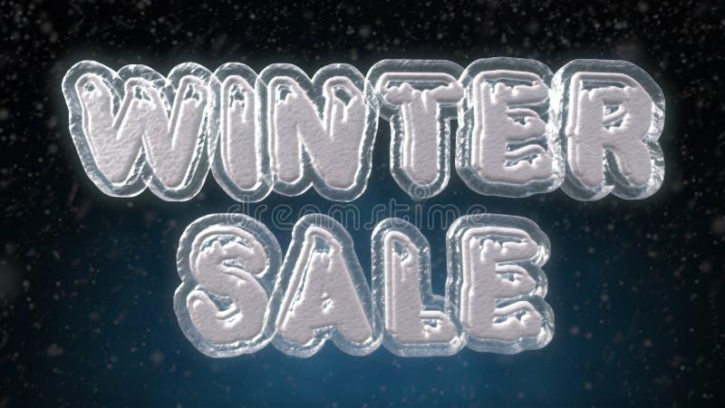 Glace de vente d'hiver et texte de la neige 3D illustration libre de droits