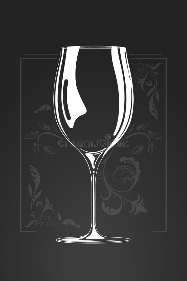 Glace de vin illustration tirée par la main de vecteur dans le style de bande dessinée Concept négatif de l'espace croquis de log illustration de vecteur