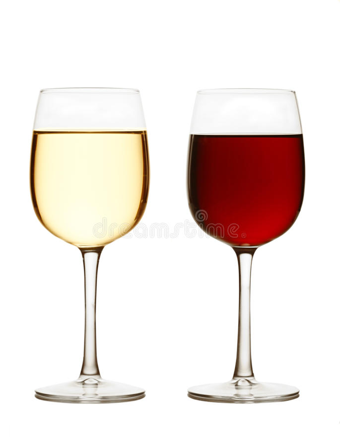 Glace de vin rouge et de vin blanc images libres de droits