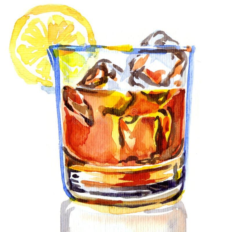 Glace de whiskey avec de la glace illustration stock