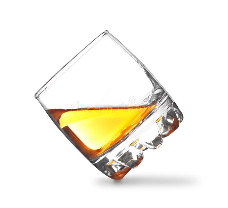 Glace de whiskey d'isolement sur le blanc photos libres de droits