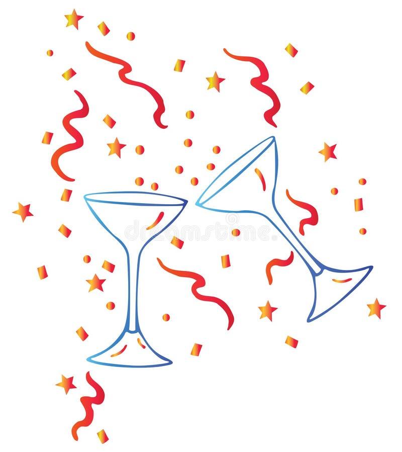 Glace et étoiles de vin illustration libre de droits