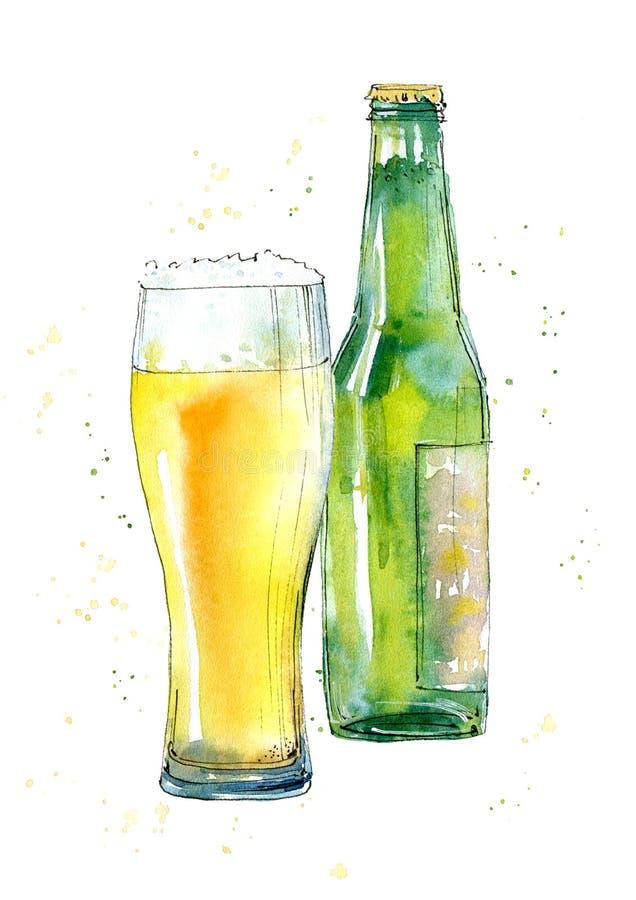 Glace et bouteille de bière blonde illustration de vecteur