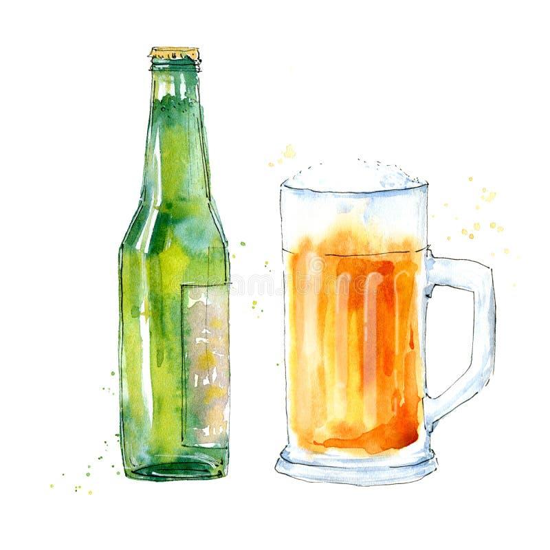 Glace et bouteille de bi?re blonde Photo d'une boisson alcoolis?e illustration stock