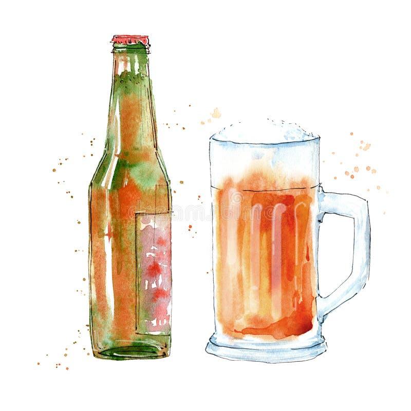 Glace et bouteille de bi?re fonc?e Photo d'une boisson alcoolis?e illustration libre de droits