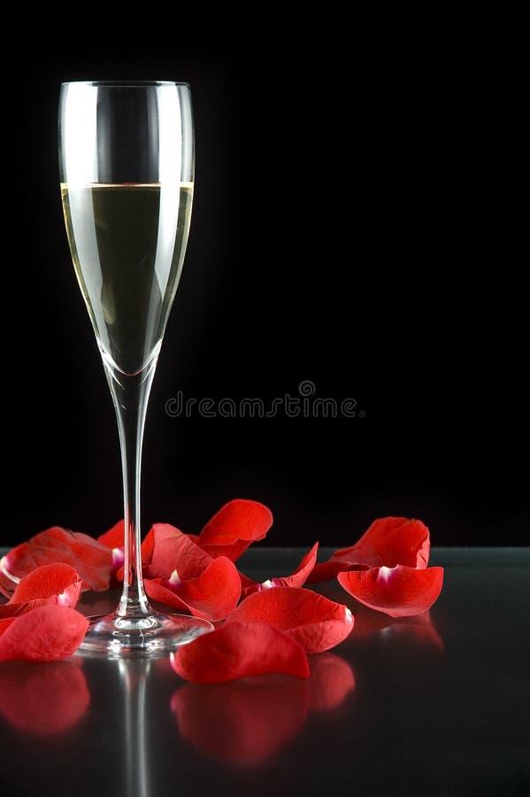 Glace et pétales de Champagne photos stock