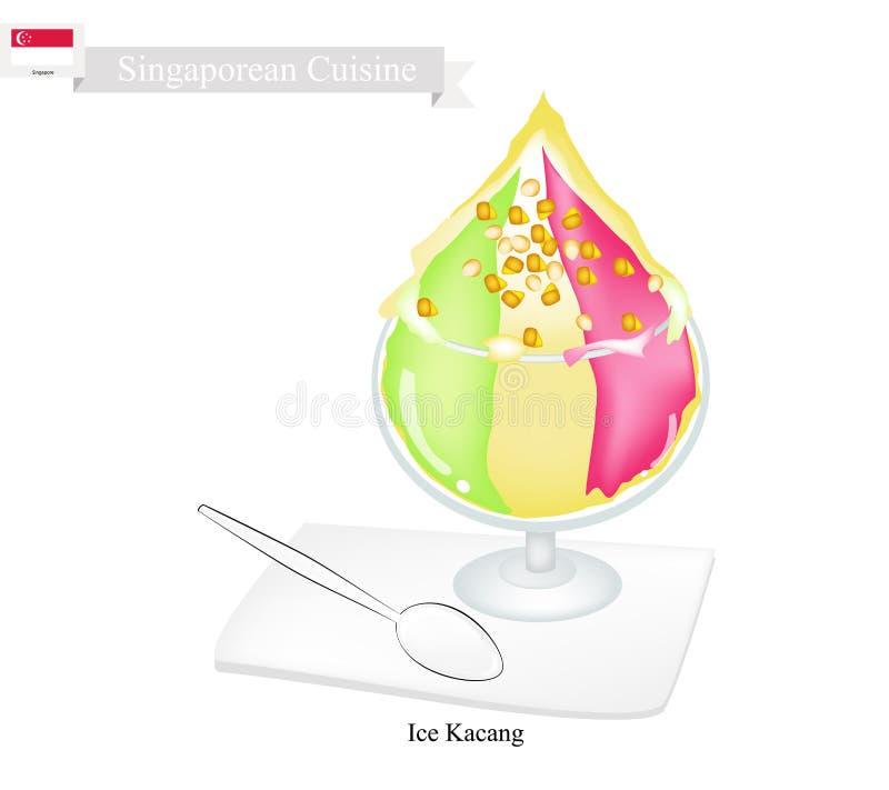 Glace Kacang, un dessert célèbre à Singapour illustration stock