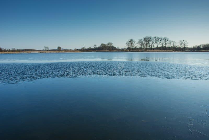 Glace mince et petites vagues sur le lac Arbres sur le rivage et le ciel sans nuages photo stock