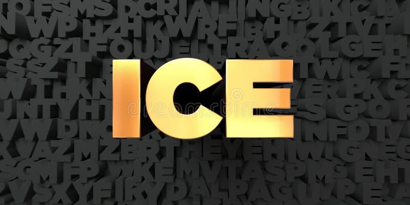 Glace - texte d'or sur le fond noir - photo courante gratuite de redevance rendue par 3D illustration stock