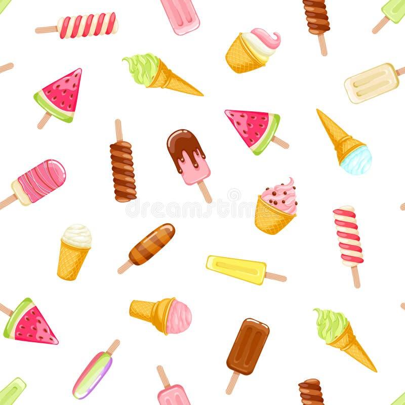 Glaces à l'eau colorées de crème glacée et modèle sans couture de cônes illustration de vecteur