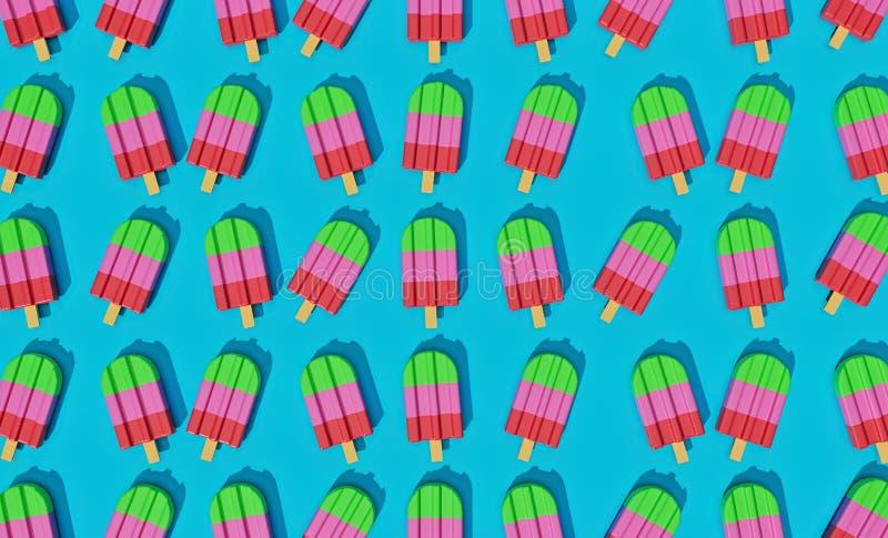 Glaces ? l'eau mignonnes color?es rendu 3d illustration stock