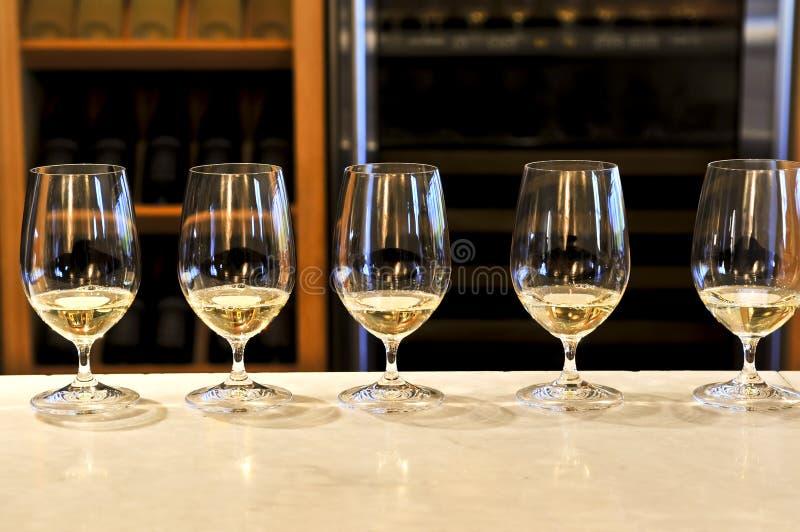 Glaces d'échantillon de vin images stock