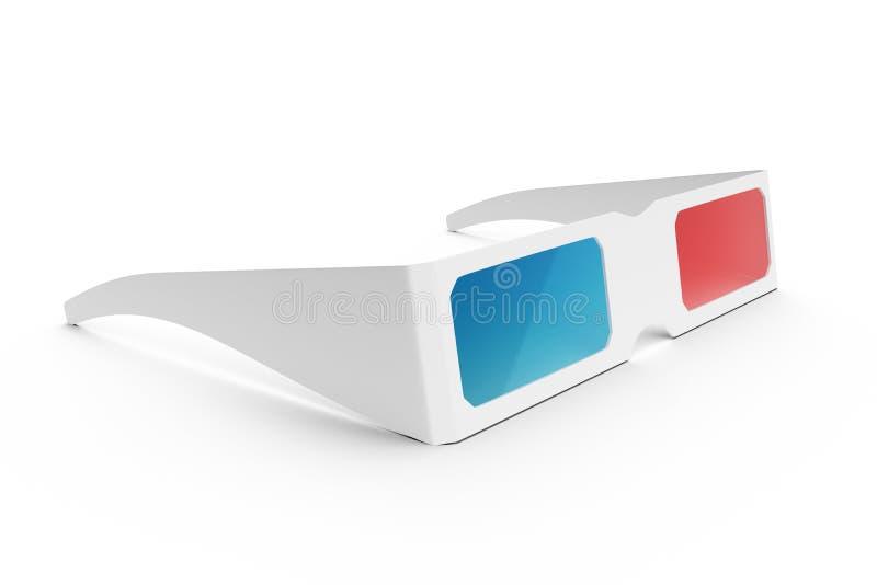 glaces 3D d'isolement sur le fond blanc Verres pour observer un film avec l'effet de 3D, illustration de la vue de côté 3D illustration de vecteur