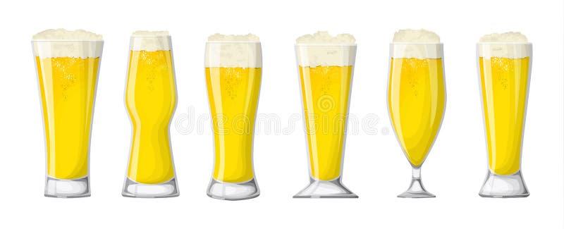 Glaces de bière réglées illustration libre de droits