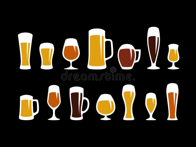 glaces de bière réglées illustration de vecteur