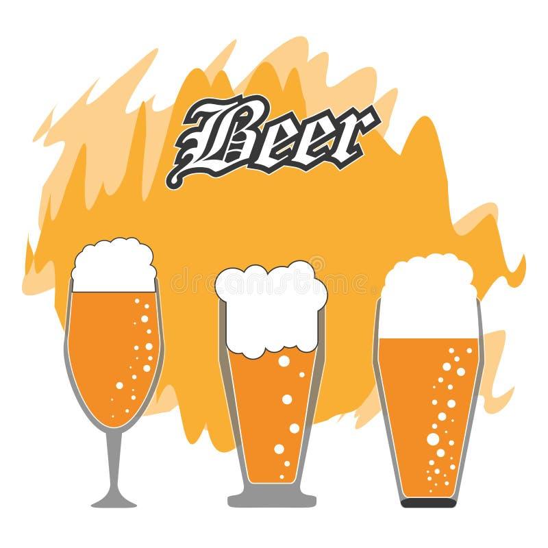 glaces de bière réglées Conception de boissons et de boisson Dessin de vecteur illustration stock