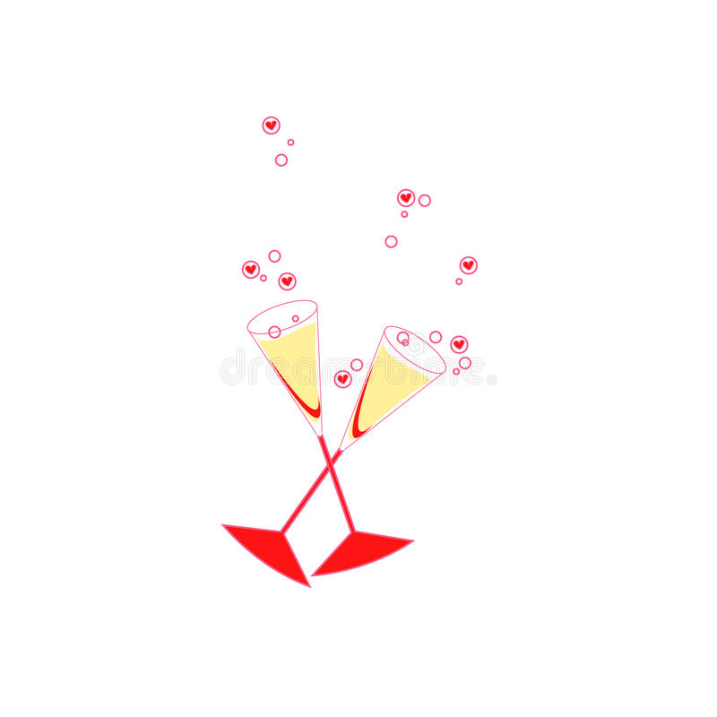 Glaces de Champagne avec des coeurs de littl illustration stock