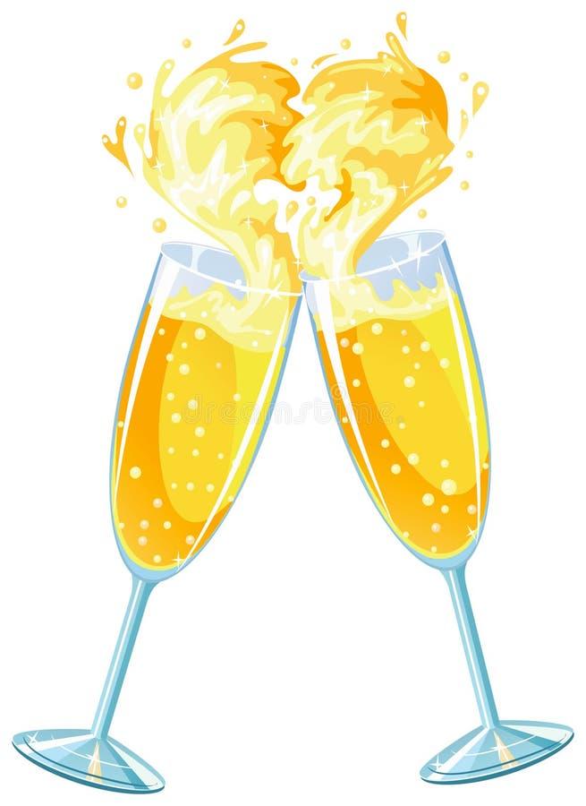Glaces de Champagne dans l'amour illustration stock