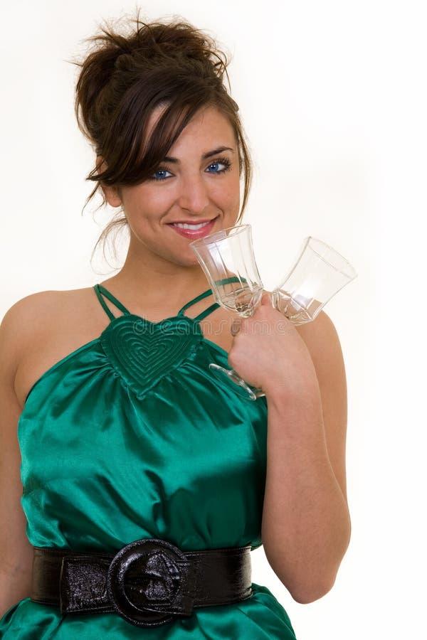 Glaces de femme et de vin photographie stock libre de droits