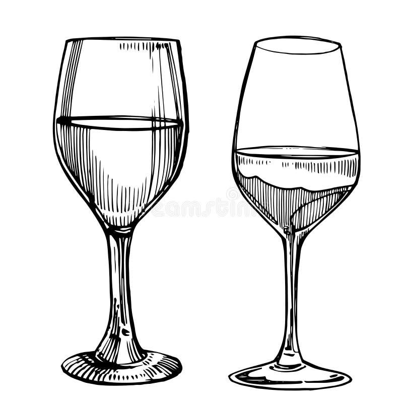 Glaces de vin Illustration de vintage de croquis D'isolement sur le fond blanc Illustrations tirées par la main de style de gravu illustration stock