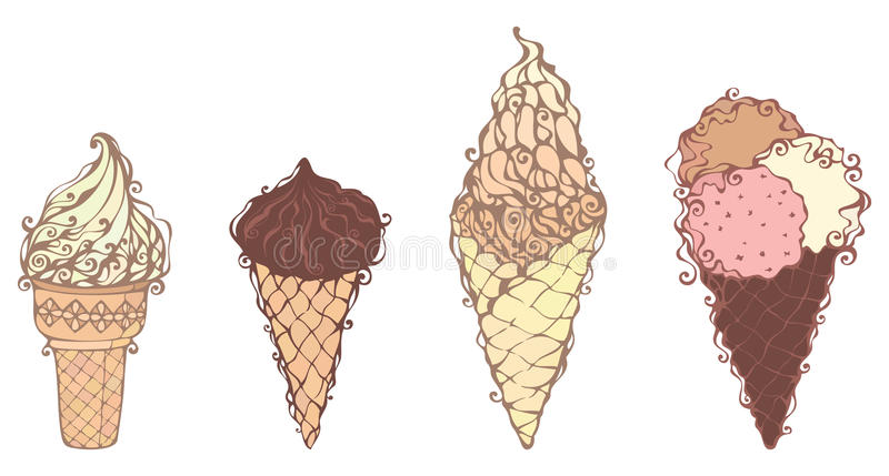 Glaces fleuries illustration stock