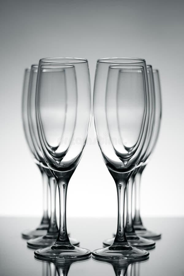 Glaces vides de champagne image stock