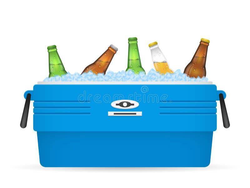 Glacez le refroidisseur ou la bière dans le vecteur de boîte sur le blanc illustration de vecteur