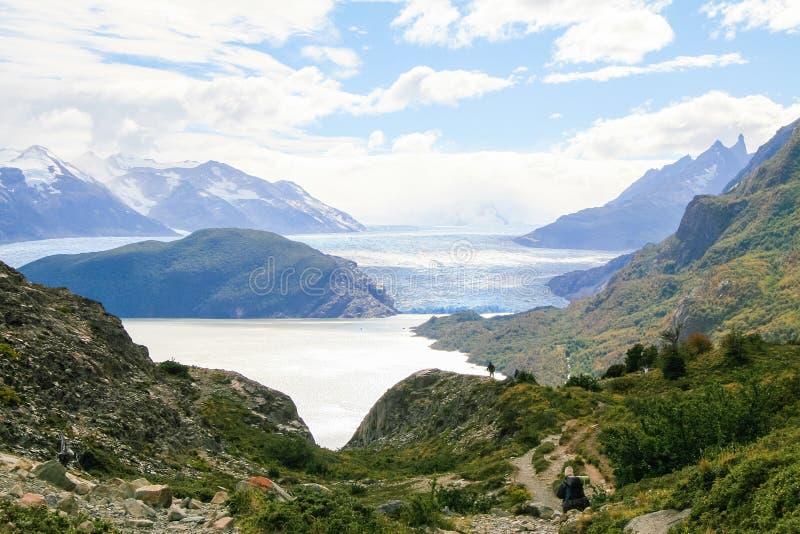 Glaciär i den Torres del Paine nationalparken i Patagonia, Chile royaltyfri bild