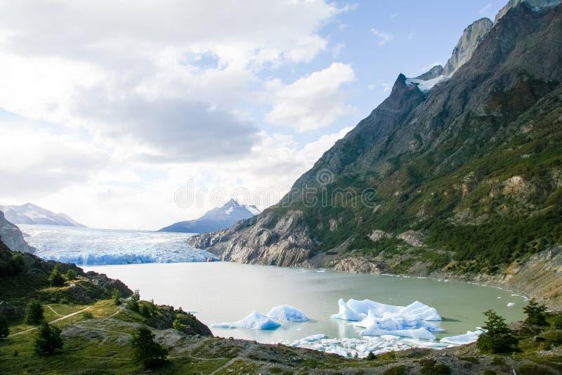 Glaciär i den Torres del Paine nationalparken i Patagonia, Chile arkivbild