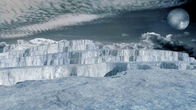 Glaciär i en arktisk region stock illustrationer