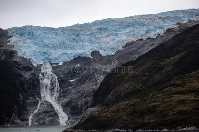 Glaciär som smälter i Patagonia Argentina fotografering för bildbyråer
