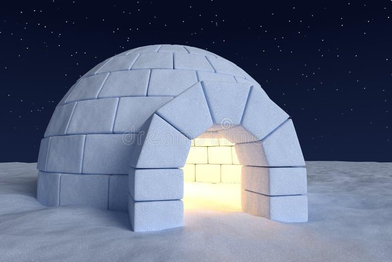 Glacière d'igloo avec la lumière chaude à l'intérieur sous le ciel nocturne avec des étoiles illustration de vecteur