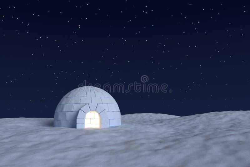 Glacière d'igloo avec la lumière chaude à l'intérieur sous le ciel nocturne avec des étoiles illustration libre de droits