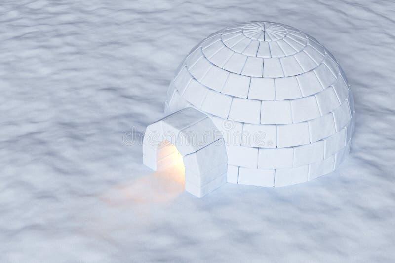 Glacière d'igloo avec la lumière chaude sur la vue aérienne de neige illustration stock
