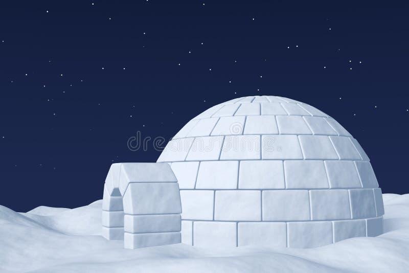 Glacière d'igloo sur le champ de neige polaire sous le ciel nocturne avec l'étoile illustration stock