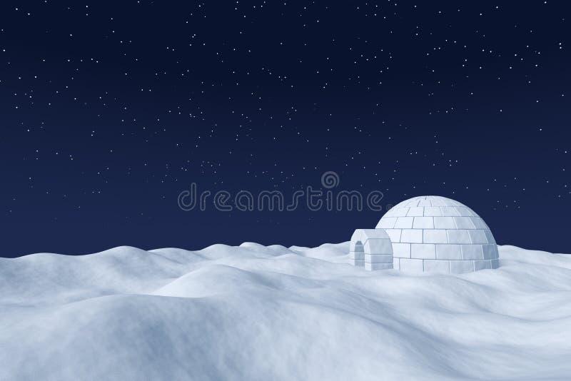 Glacière d'igloo sur le champ de neige polaire sous le ciel nocturne avec l'étoile illustration de vecteur