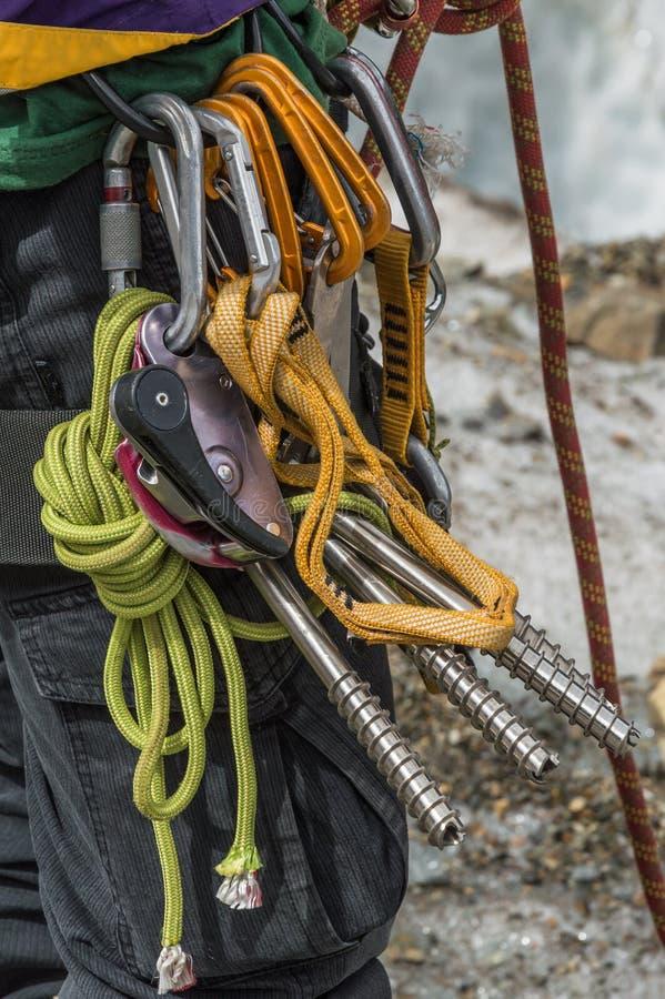 Glaciériste avec les equipmen photographie stock libre de droits