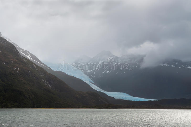 Glaciar de Holanda, callejón del glaciar, canal del beagle, Chile foto de archivo
